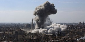 Syrian government troops destroyed a large part of the Douma area in Damascus where CIA-backed rebels are holed up.