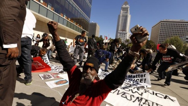 Angry protester after LAPD killing of homeless man called Africa.