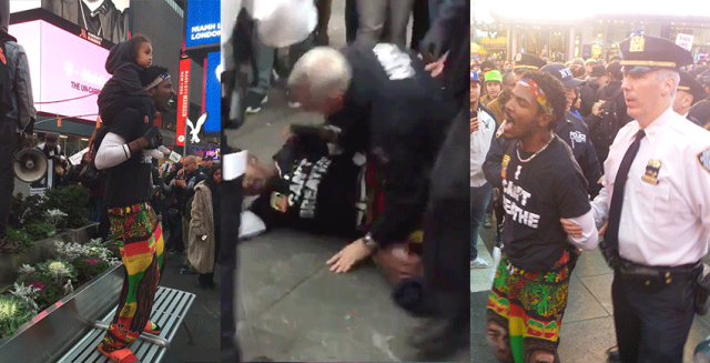 In police riot at #RiseUpOctober, NYPD arrests peaceful protester carrying 2-year-old child.