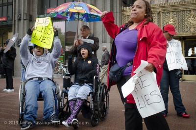 Parents, students and supporters rally in front of Detroit Public School HQ in protest of closing Oakman Elementary/Orthopedic School in Detroit — which serves disabled students. Photo: James Fassinger, STILLSCENES