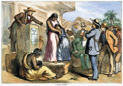 Auction of kidnapped Africans forced into slavery, held in the U.S.